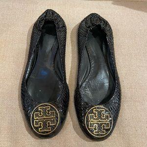 Tory Burch Crocodile Leather Flats